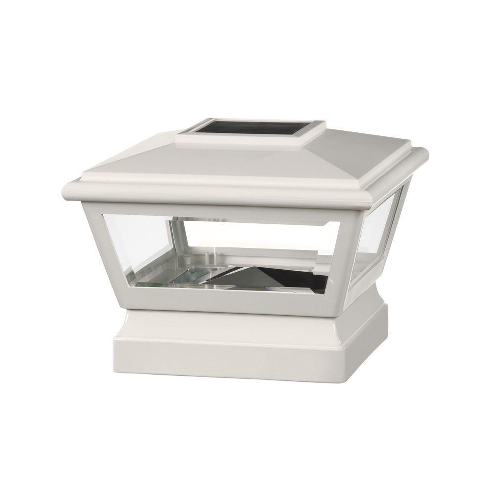 Veranda 5 in. x 5 in. Vinyl Solar Light White Pyramid Post Cap with White Base