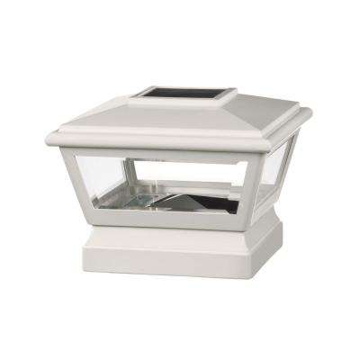 5 in. x 5 in. Vinyl Solar Light White Pyramid Post Cap with White Base