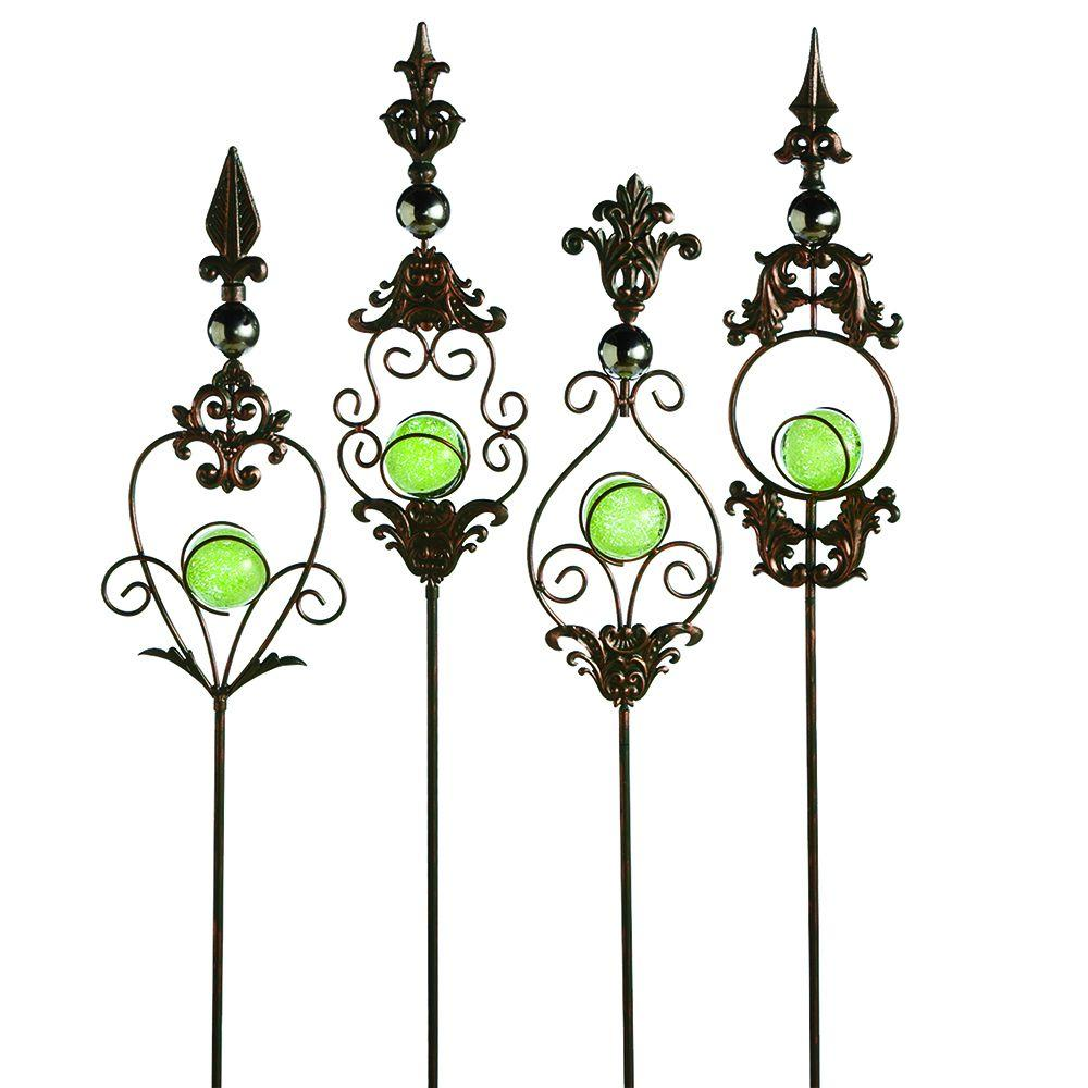 Filament Design Sundry 48 in. Gold Iron Glow in the Dark Garden Stake (Set of 4)