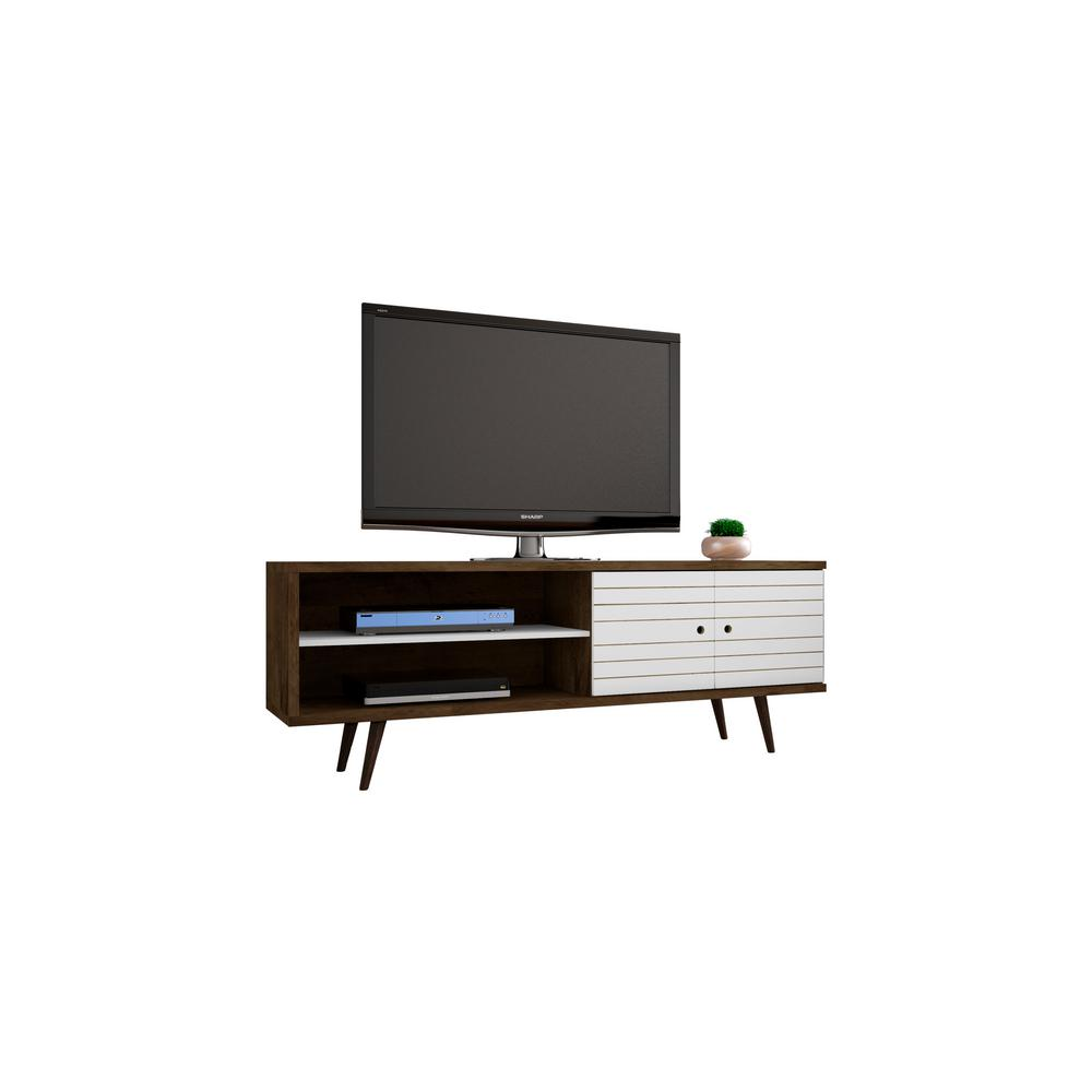 Manhattan Comfort Liberty Rustic Brown and White Entertainment Center