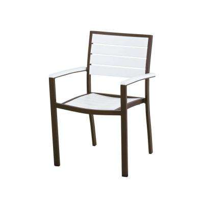 Euro Textured Bronze Patio Dining Arm Chair with White Slats