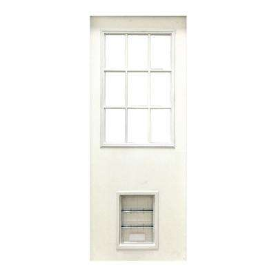 31-3/4 in. x 79 in. 9-Lite White Primed Fiberglass Front Door Slab with Extra Large Pet Door