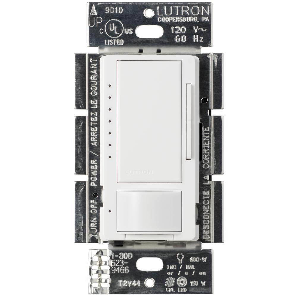 Maestro LED+ Dimmer 1.5 Amp Motion Sensor, Single Pole and Multi-Location, White