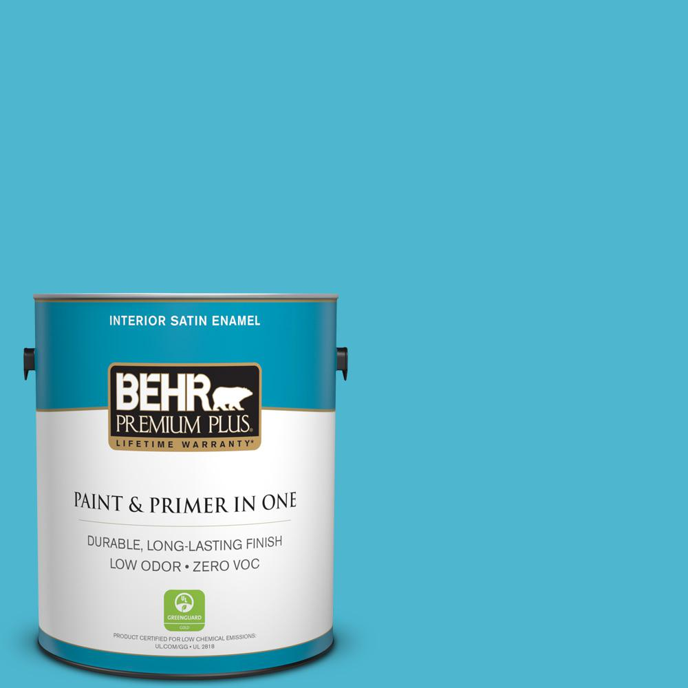 1-gal. #520B-5 Liquid Blue Zero VOC Satin Enamel Interior Paint
