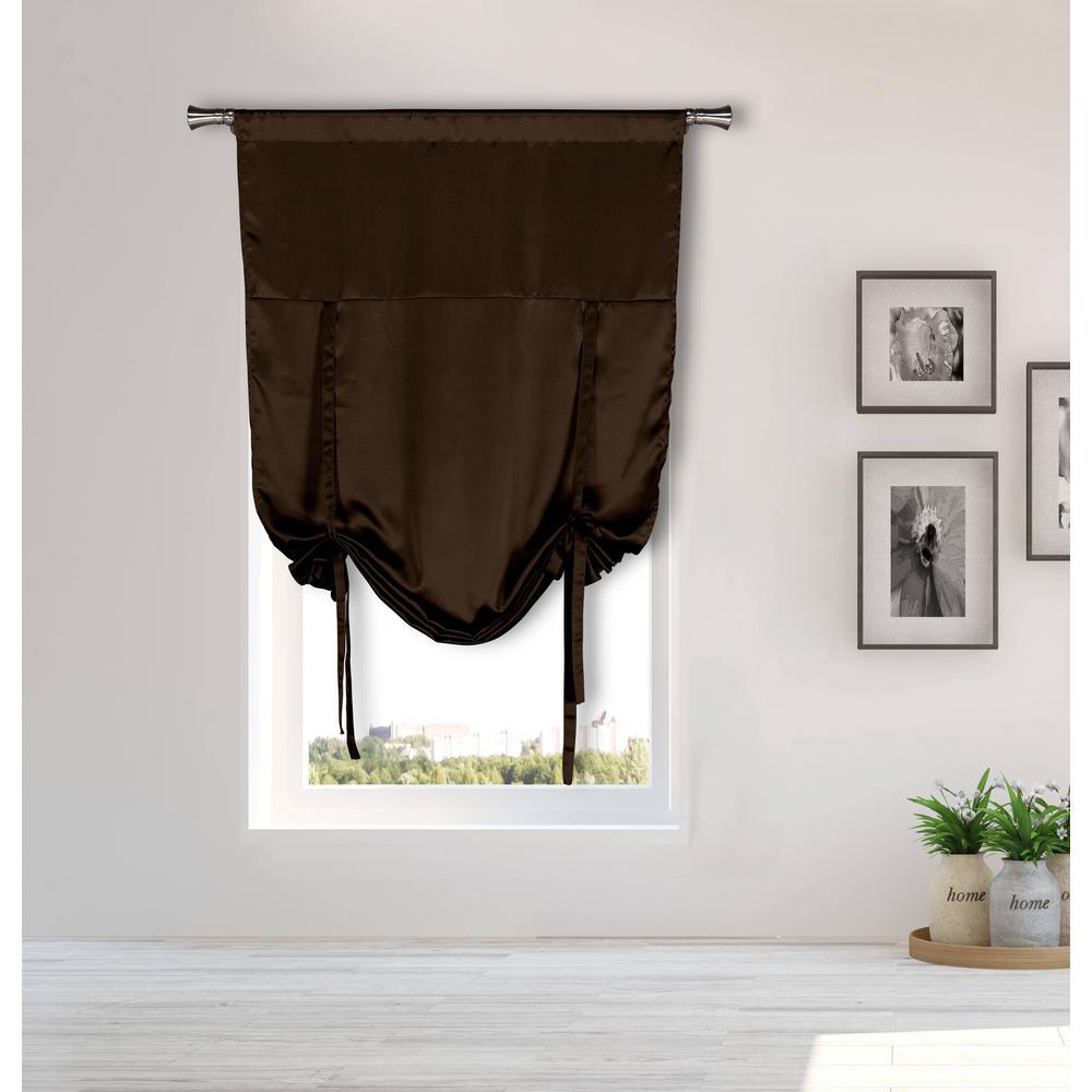 Irene Chocolate Tie-up Room Darkening Curtain - 38 in. W x 63 in. L in (2-Piece)