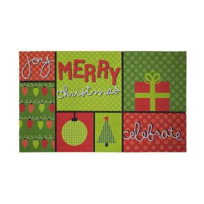 Merriest Christmas 18 in. x 30 in. Recycled Rubber Holiday Mat