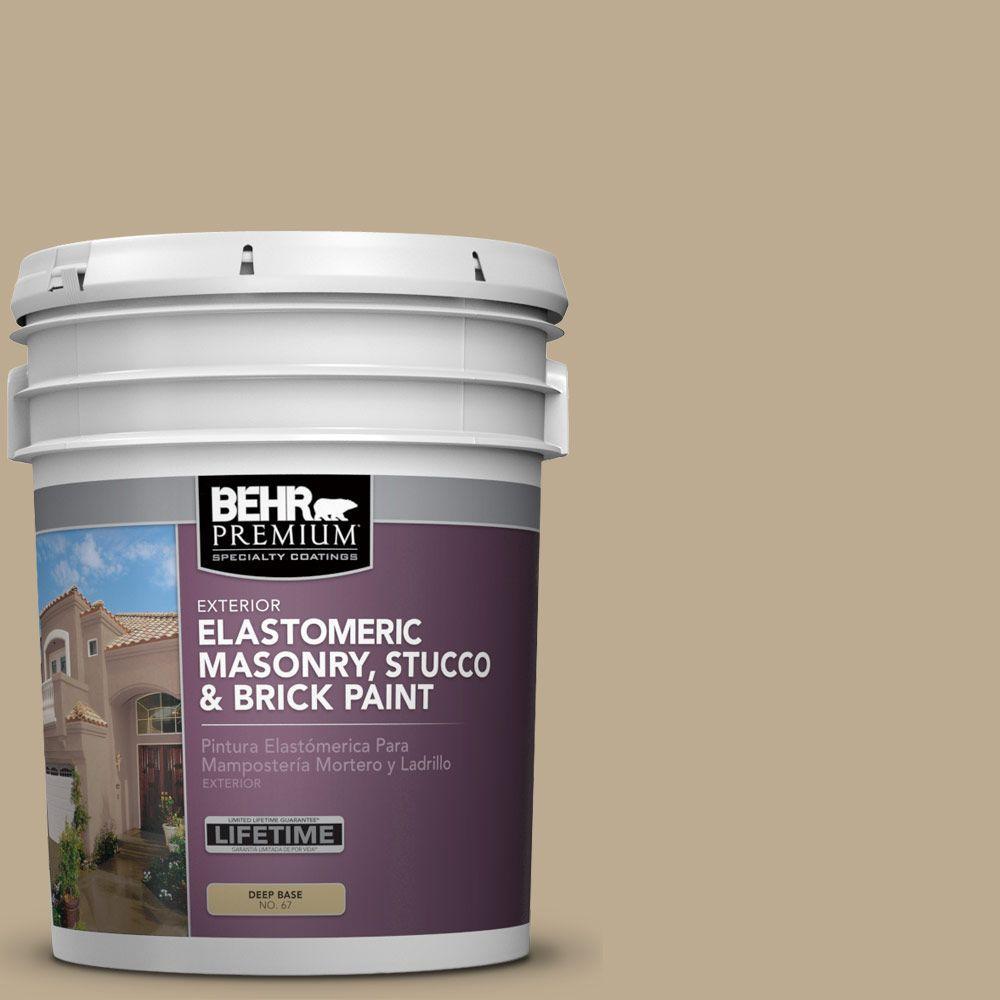5 gal. #MS-44 Autumn Tan Elastomeric Masonry, Stucco and Brick Exterior Paint