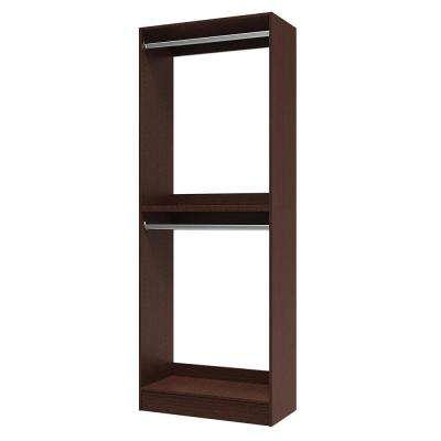 15 in. D x 30 in. W x 84 in. H Utility Tower and Melamine Closet System Kit in Mocha