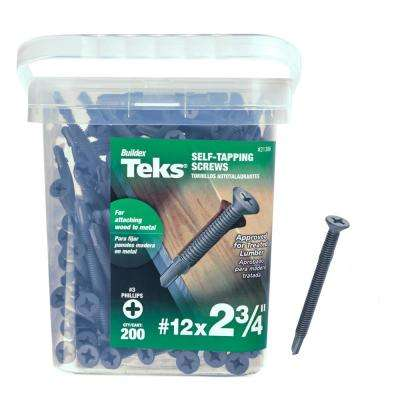 #12 x 2-3/4 in. Plymetal Zinc-Plated Steel Flat-Head Phillips Self-Tapping Screws with Wings (200-Pack)