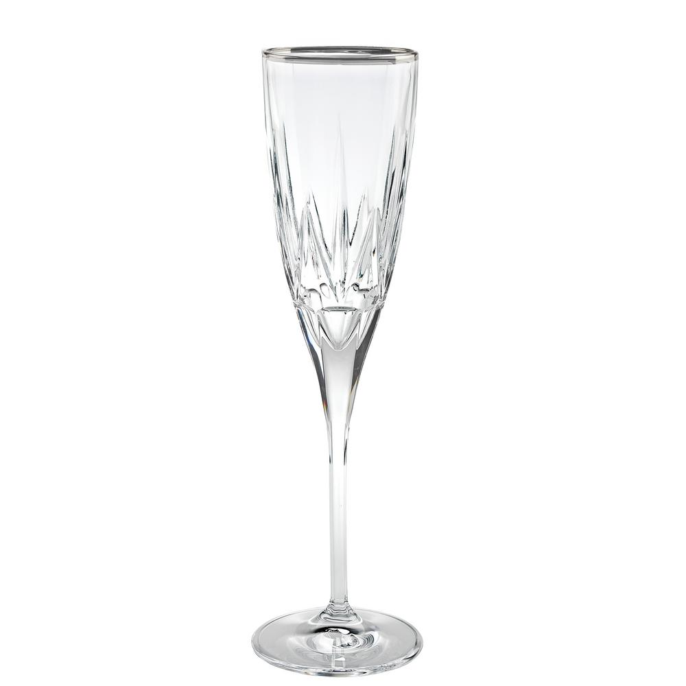 Chic Flute Goblets with Platinum Trim By Lorren Home Trends (Set