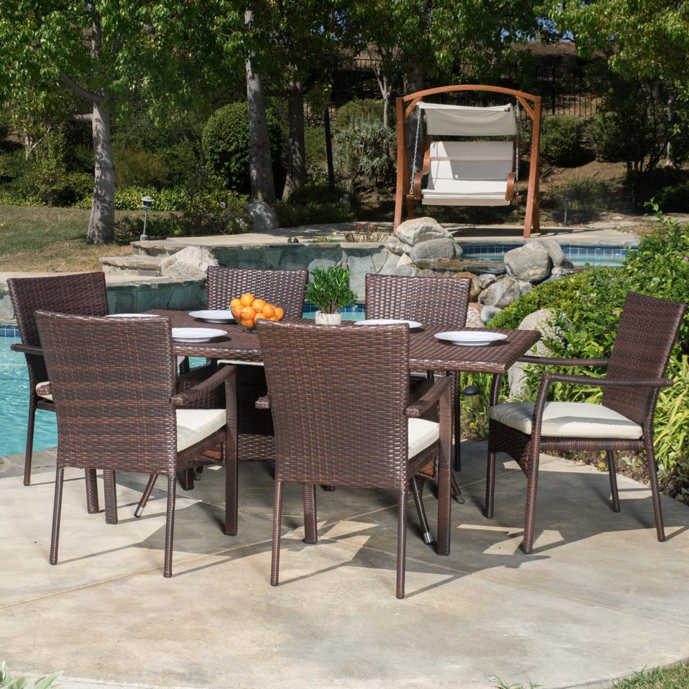 Outdoor Patio Furniture 7pc Multibrown All Weather Wicker: Noble House Thompson Multi-Brown 7-Piece Wicker Outdoor