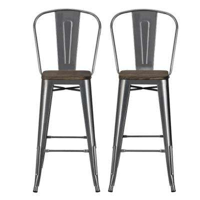 Lena 30 in. Antique Gun Metal, Metal Bar Stool with Wood Seat (Set of 2)