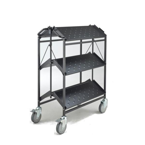 Folding Master Busing Cart, 3-Shelf Grey 550 lbs. Cap with 5 in. Swivel Caster 34 in. H x 17.5 in. W X 35 in. H