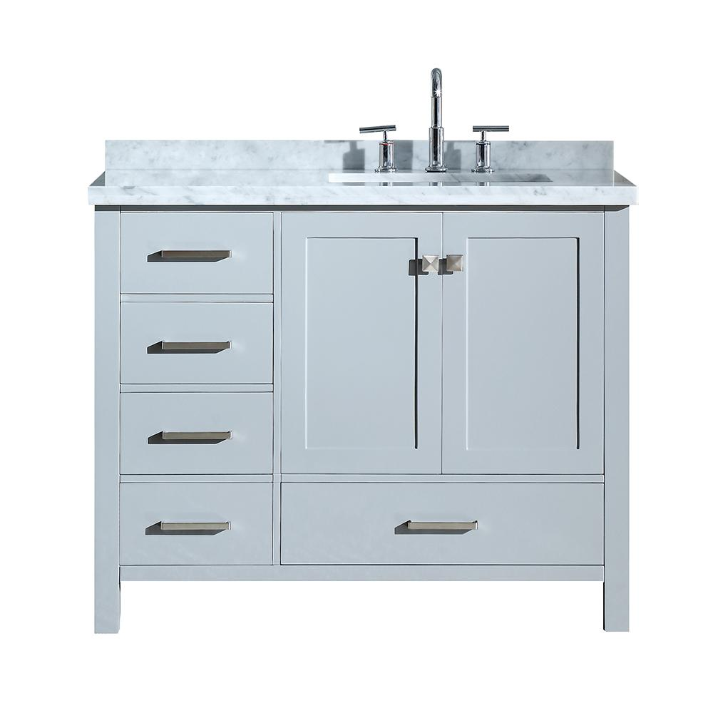 2 Soft Closing Doors Right Offset ARIEL Bathroom Vanity 43 Inch with Carrara White Marble Countertop and Rectangle Sink in Espresso No Mirror 5 Full Extension Dovetail Drawers