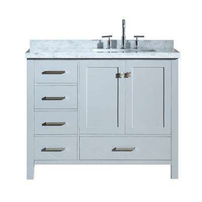 Cambridge 43 in. Bath Vanity in Grey with Marble Vanity Top in Carrara White with White Basin