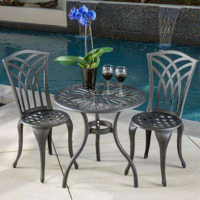Sanders  Black and Sand 3 piece  Aluminum Round Outdoor Bistro Set