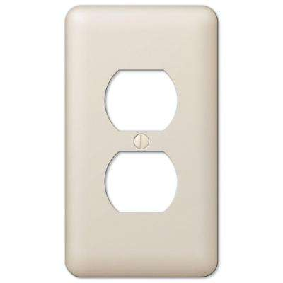 Declan 1 Duplex Outlet Plate - Light Almond Steel