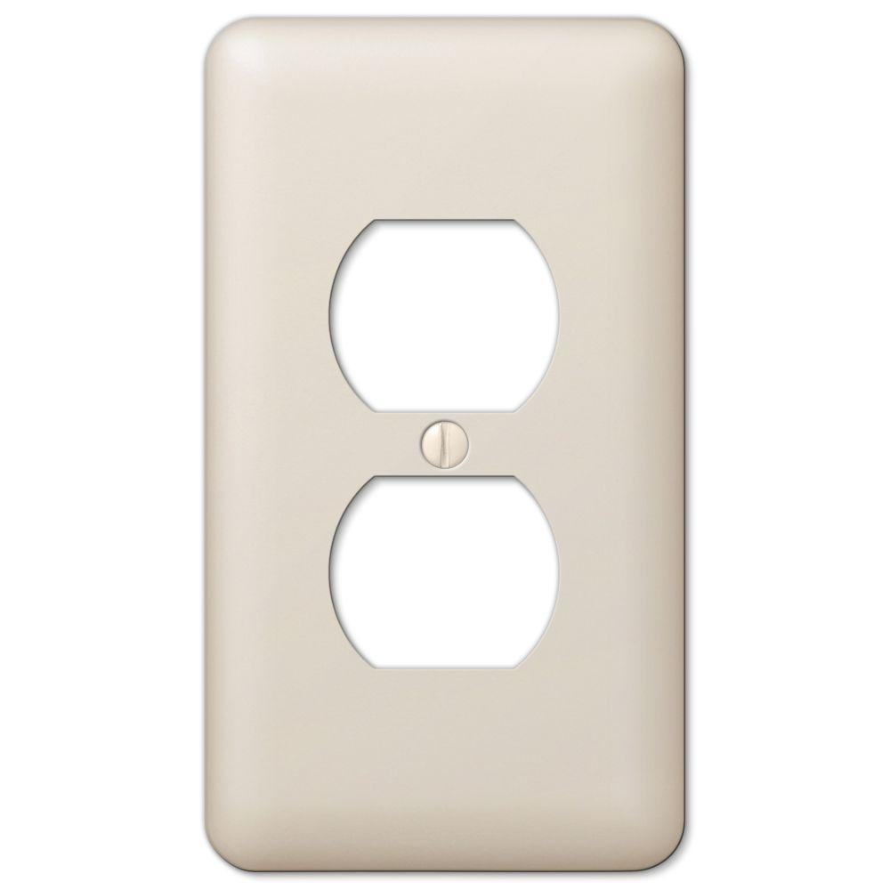 hamptonbay Hampton Bay Declan Steel 1-Gang Duplex Outlet Plate, Light Almond