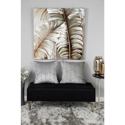 Silver and Bronze 3D Metallic Leaves Square Framed Canvas Wall Art