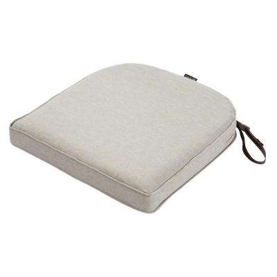 Montlake Fade Safe Heather Grey 18 in. Contoured Outdoor Seat Cushion