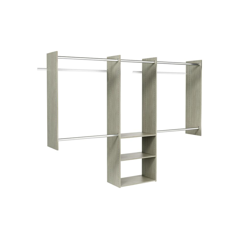 Closet Evolution Deluxe 60 in. W - 96 in. W Rustic Grey Wood Closet System