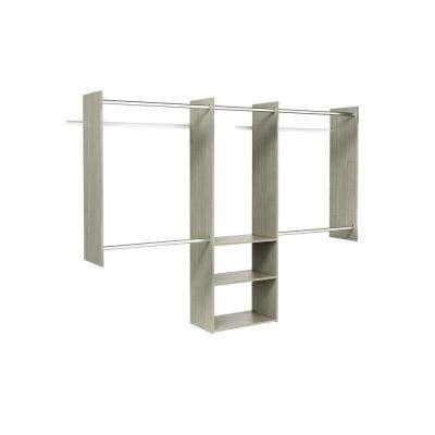 Deluxe 60 in. W - 96 in. W Rustic Grey Wood Closet System