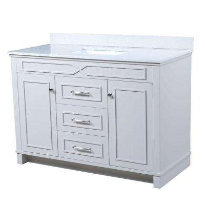 Bombay 48.5 in. W x 22 in. D Vanity in French Gray with Quartz Vanity Top in White with White Basin