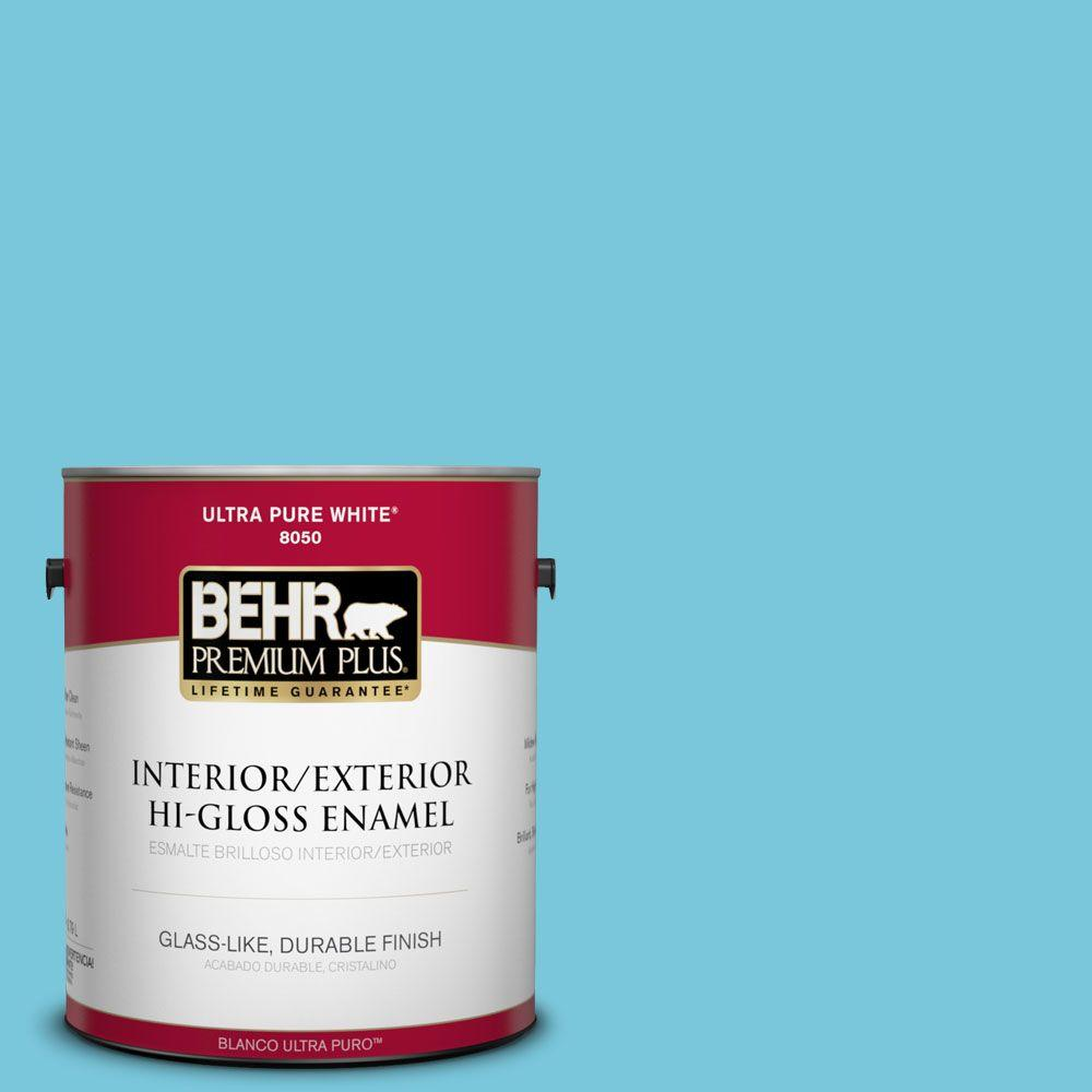 BEHR Premium Plus 1-gal. #520B-4 Water Flow Hi-Gloss Enamel Interior/Exterior Paint