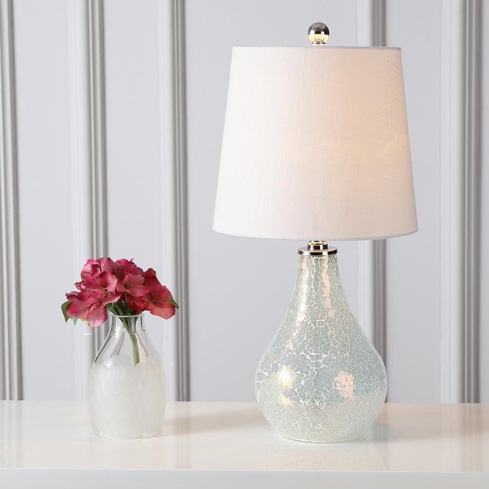 Mona 20.5 in. Mosaic White Mini Table Lamp