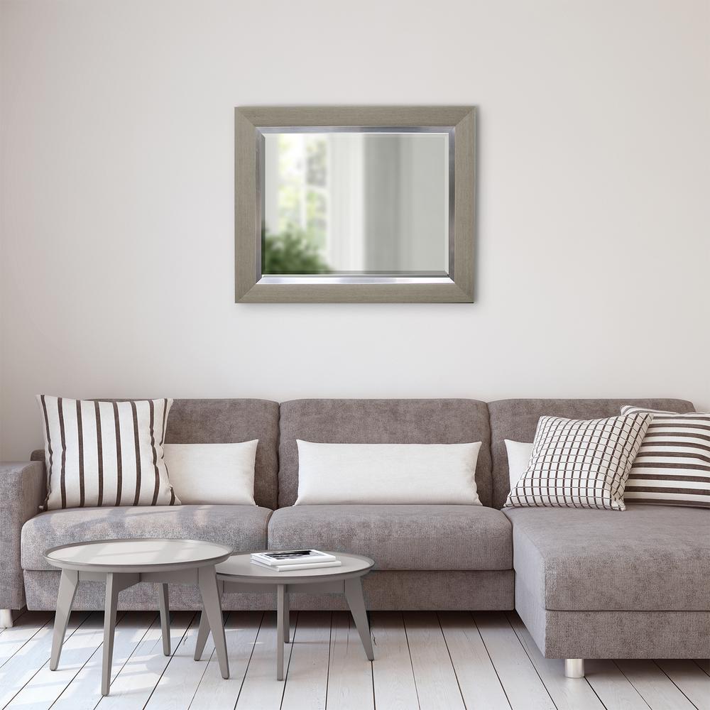 29.5 in. x 35.5 in Greywash and Silver Decorative Mirror