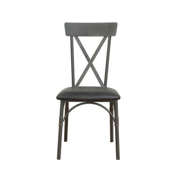 ACME Furniture Itzel Sandy Gray and Black PU Side Chair 72082
