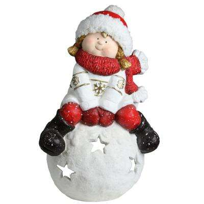 19.25 in. Christmas Morning Girl on a Snowball Christmas Tealight Candle Holder