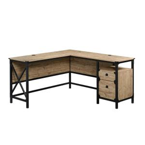 60 in. L-Shaped Milled Mesquite 2 Drawer Computer Desk with File Storage