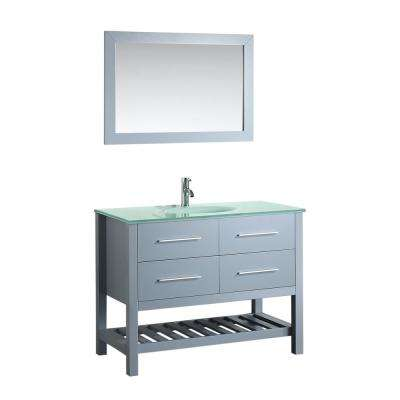 Bosconi 43 in. W Single Bath Vanity in Grey with Tempered Glass Vanity Top in White with White Basin and Mirror