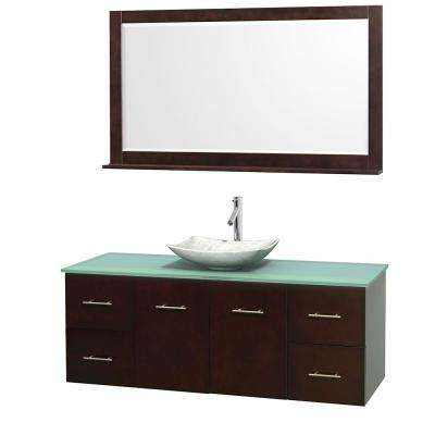 Centra 60 in. Vanity in Espresso with Glass Vanity Top in Green, Carrara White Marble Sink and 58 in. Mirror