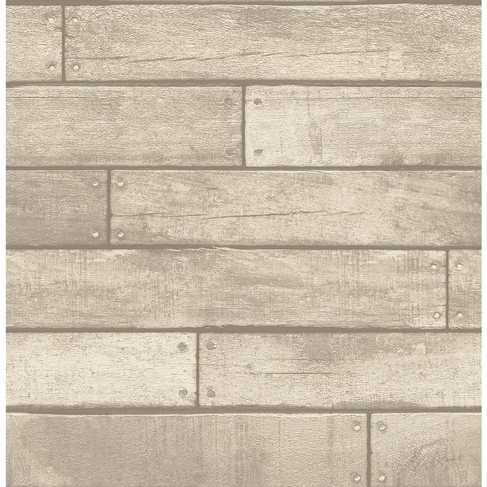 Brewster Weathered Grey Nailhead Plank Wallpaper