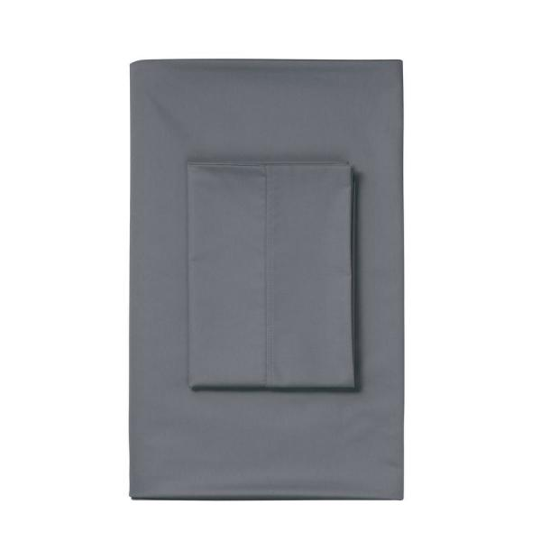 The Company Store Stone Gray Sateen King Duvet Cover DT95-K-STN-GRAY