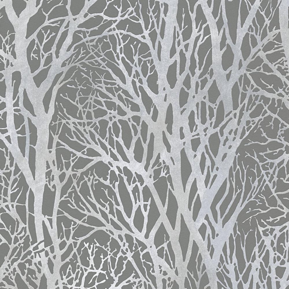 Life Series Trees - Silver Metallic and Dark Grey Wallpaper