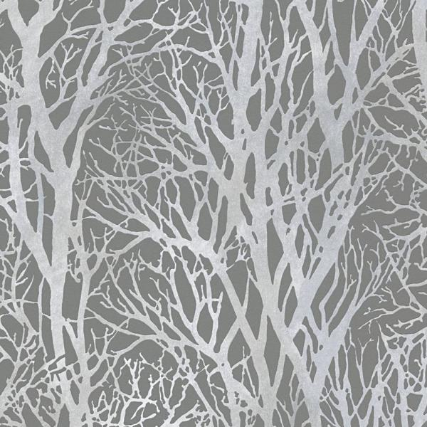 A S Creation Life Series Trees Silver Metallic And Dark Grey