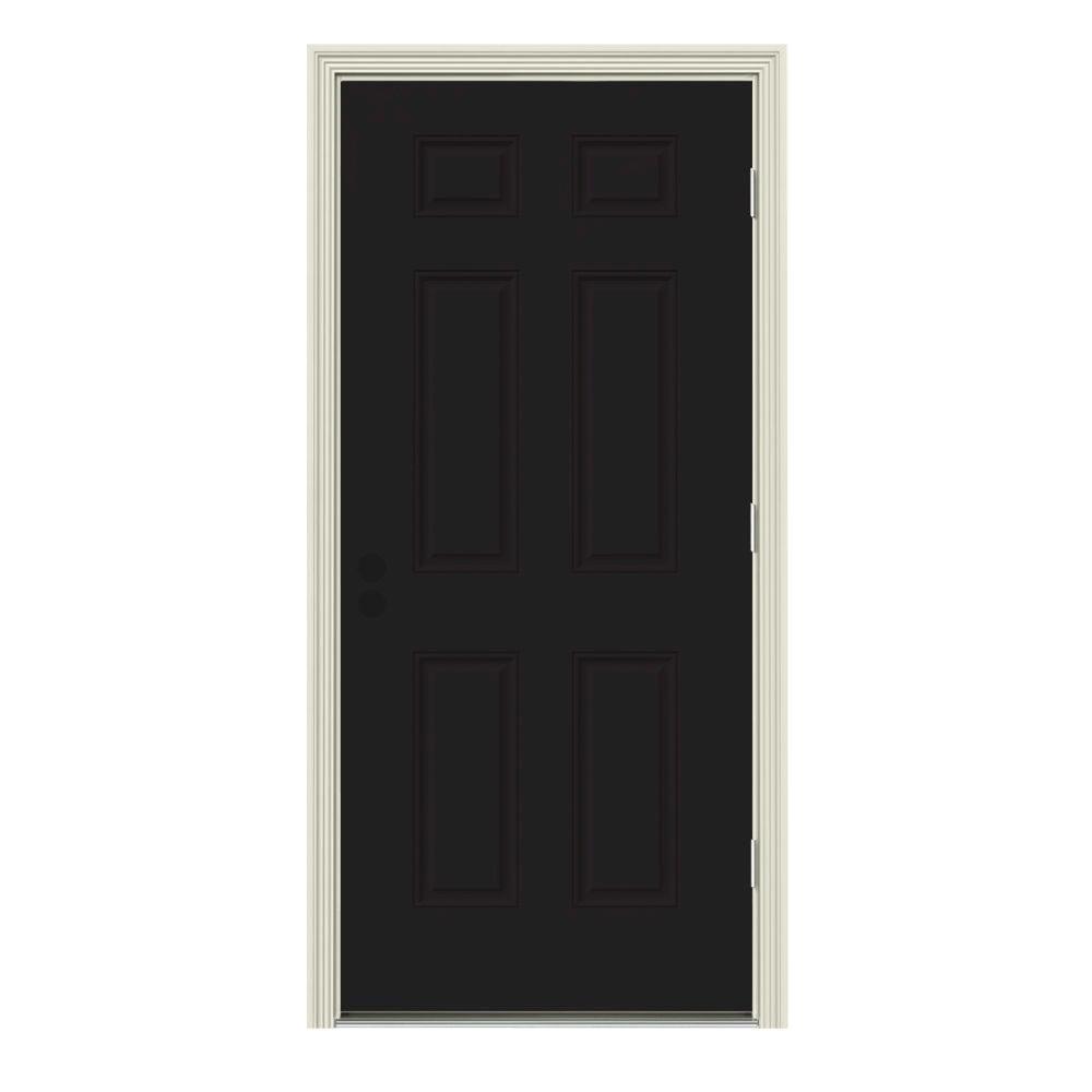 JELD-WEN 30 in. x 80 in. 6-Panel Black Painted w/ White Interior Steel Prehung Left-Hand Outswing Front Door w/Brickmould