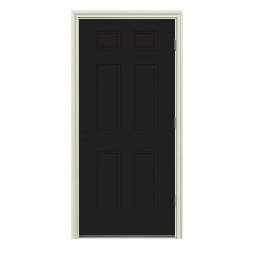 Jeld-Wen 32 in. x 80 in. 6-Panel Black Painted w/ White I...