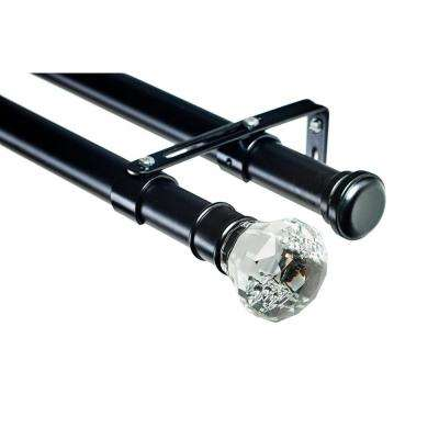 6 ft. Double Curtain 1-1/8 in. Dia Rod in Black with Digital Finial
