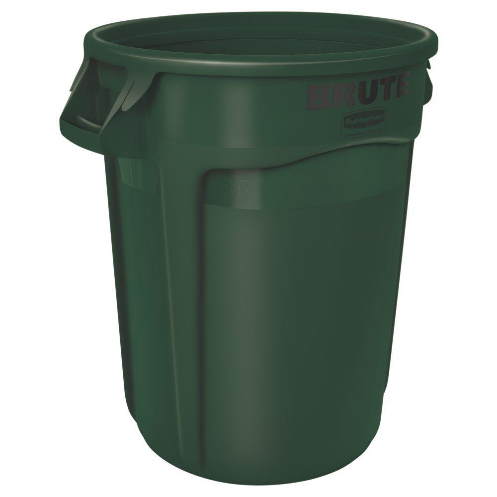 rubbermaid commercial products brute 32 gal dark green round vented