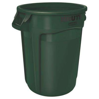 Brute 32 Gal. Dark Green Round Vented Trash Can with Lid