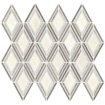 Premier Elegance Gray White Diamond 11-1/2 in. x 12 in. x 10 mm Marble Mosaic Floor and Wall Tile (0.69 sq. ft. / piece)