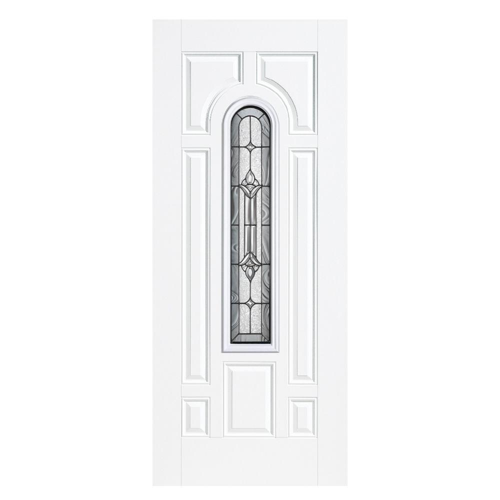 36 in. x 80 in. Providence Center Arch Right-Hand Outswing Primed