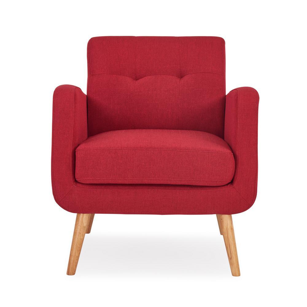 Kingston Cherry Red Textured Linen Mid Century Modern Arm Chair