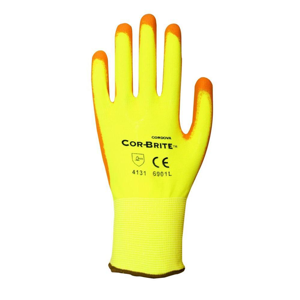 Polyurethane (PU) Coated Hi Vis Large Work Gloves (2-Pack)