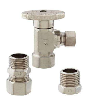 1/2 in. FIP x 3/8 in. OD Brass Quarter Turn Angle Valve in Brushed Nickel Lead Free