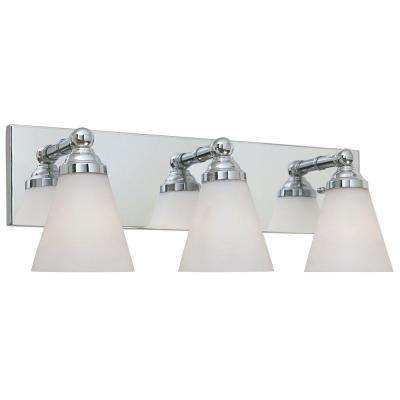Hudson 3-Light Chrome Wall Mount Vanity Light